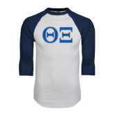 White/Navy Raglan Baseball T-Shirt-Greek Letters - One Color