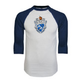 White/Navy Raglan Baseball T-Shirt-Crest