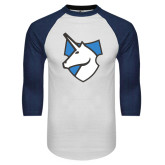 White/Navy Raglan Baseball T-Shirt-Unicorn