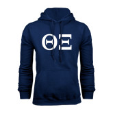 Navy Fleece Hoodie-Greek Letters - One Color