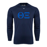 Under Armour Navy Long Sleeve Tech Tee-Greek Letters - One Color