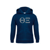 Youth Navy Fleece Hood-Greek Letters - One Color
