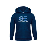 Youth Navy Fleece Hoodie-Greek Letters - Future Theta Xi