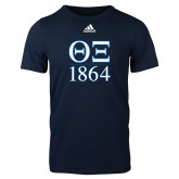 Adidas Navy Logo T Shirt-Greek Letters 1864 Stacked