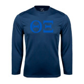 Syntrel Performance Navy Longsleeve Shirt-Greek Letters - One Color
