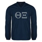 V Neck Navy Raglan Windshirt-Greek Letters - One Color