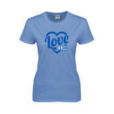 Ladies Arctic Blue T Shirt-Love in Heart - Sweetheart