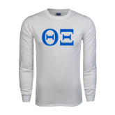 White Long Sleeve T Shirt-Greek Letters - One Color