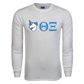 White Long Sleeve T Shirt-Unicorn with Greek Letters