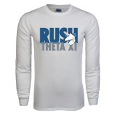 White Long Sleeve T Shirt-Rush Theta Xi Stacked