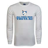 White Long Sleeve T Shirt-Theta Xi - Slogan Gradient Halftone
