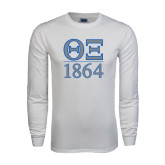 White Long Sleeve T Shirt-Greek Letters 1864 Stacked