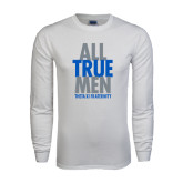 White Long Sleeve T Shirt-Slogan Stacked