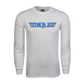 White Long Sleeve T Shirt-Theta Xi - Top Gun