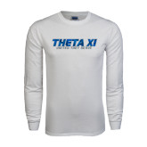 White Long Sleeve T Shirt-Theta Xi - Polygon w Motto