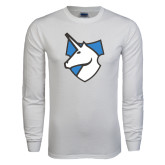 White Long Sleeve T Shirt-Unicorn