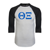White/Black Raglan Baseball T-Shirt-Greek Letters - One Color