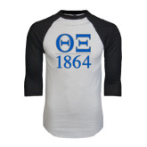 White/Black Raglan Baseball T-Shirt-Greek Letters 1864 Stacked
