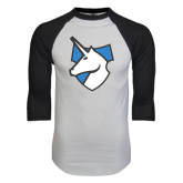 White/Black Raglan Baseball T-Shirt-Unicorn