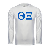 Syntrel Performance White Longsleeve Shirt-Greek Letters - One Color