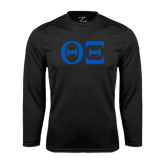 Syntrel Performance Black Longsleeve Shirt-Greek Letters - One Color