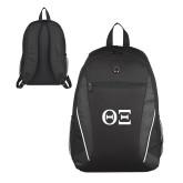 Atlas Black Computer Backpack-Greek Letters - One Color