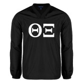 V Neck Black Raglan Windshirt-Greek Letters - One Color