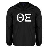 V Neck Black Raglan Windshirt-Greek Letters - One Color