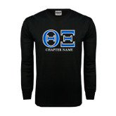 Black Long Sleeve TShirt-Greek Letters - Personalized Chapter Name