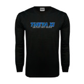 Black Long Sleeve TShirt-Theta Xi - Polygon w Motto