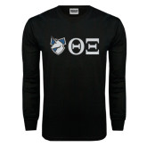 Black Long Sleeve TShirt-Unicorn with Greek Letters