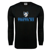 Black Long Sleeve TShirt-Theta Xi - Slogan Gradient Halftone