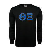 Black Long Sleeve TShirt-Greek Letters - One Color