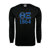 Black Long Sleeve TShirt-Greek Letters 1864 Stacked