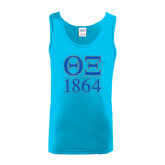 Light Blue Tank Top-Greek Letters 1864 Stacked