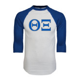White/Royal Raglan Baseball T Shirt-Greek Letters - One Color