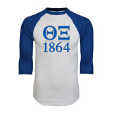 White/Royal Raglan Baseball T Shirt-Greek Letters 1864 Stacked
