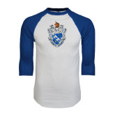 White/Royal Raglan Baseball T Shirt-Crest