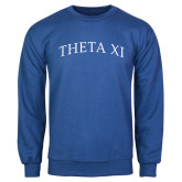 Royal Fleece Crew-Arched Theta Xi Word Mark