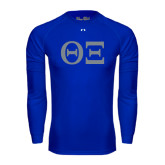 Under Armour Royal Long Sleeve Tech Tee-Greek Letters - One Color