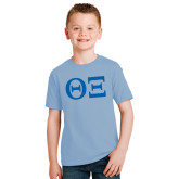 Youth Light Blue T Shirt-Greek Letters - One Color