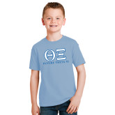Youth Light Blue T Shirt-Greek Letters - Future Theta Xi