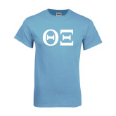 Light Blue T Shirt-Greek Letters - One Color