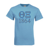 Light Blue T Shirt-Greek Letters 1864 Stacked