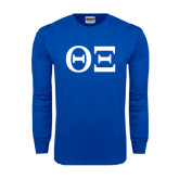 Royal Long Sleeve T Shirt-Greek Letters - One Color