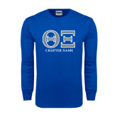 Royal Long Sleeve T Shirt-Greek Letters - Personalized Chapter Name