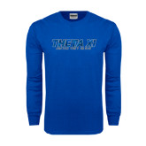 Royal Long Sleeve T Shirt-Theta Xi - Polygon w Motto