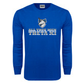Royal Long Sleeve T Shirt-Theta Xi - Slogan Gradient Halftone