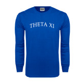 Royal Long Sleeve T Shirt-Arched Theta Xi Word Mark