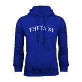 Royal Fleece Hoodie-Arched Theta Xi Word Mark